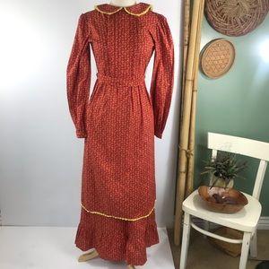 Vintage Prairie Apron Maxi Handmade Dress Sz XS/S